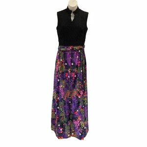 60s Psychedelic Maxi Dress, Size Small